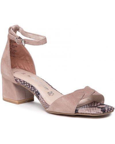 Sandały skórzane - beżowe Marco Tozzi
