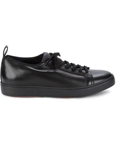 Czarne sneakersy na platformie skorzane Santoni