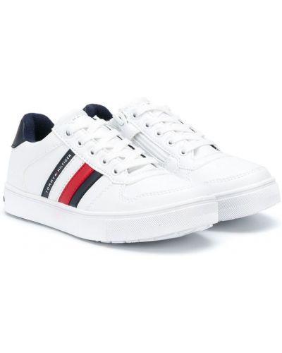 Ażurowy biały włókienniczy sneakersy na sznurowadłach Tommy Hilfiger Junior