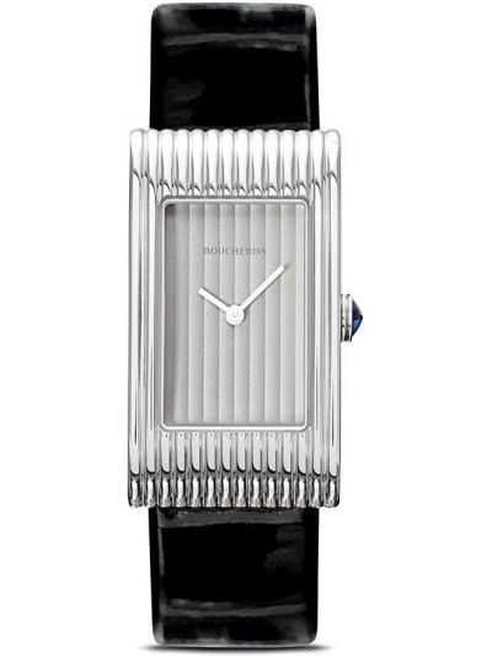 Czarny zegarek na skórzanym pasku skórzany szafir Boucheron