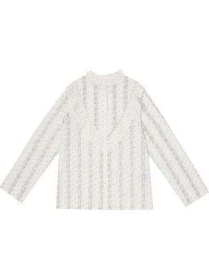 Хлопковая ватная белая блузка Bonpoint