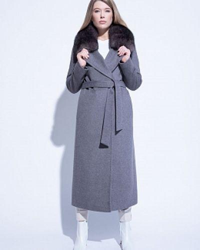 Серое шерстяное пальто классическое с воротником Electrastyle