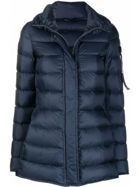 С рукавами синее пуховое длинное пальто с перьями Peuterey