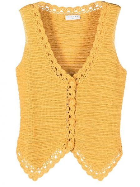 Żółta kamizelka bez rękawów z nylonu Sandro Paris