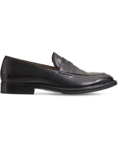 Czarne loafers na obcasie Alberto Fasciani