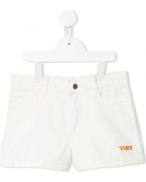 Хлопковые белые шорты с карманами на пуговицах Tiny Cottons