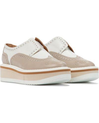 Beżowy buty brogsy z prawdziwej skóry na klinie Clergerie