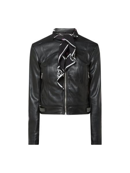Czarny kurtka z kieszeniami z zamkiem błyskawicznym ze stójką Guess