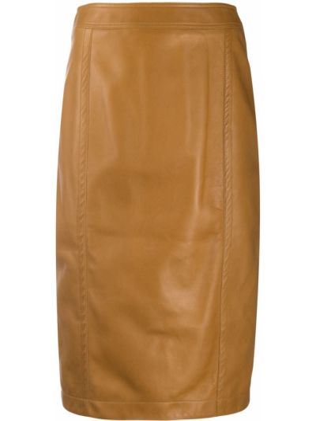 Коричневая кожаная юбка миди на молнии Saint Laurent