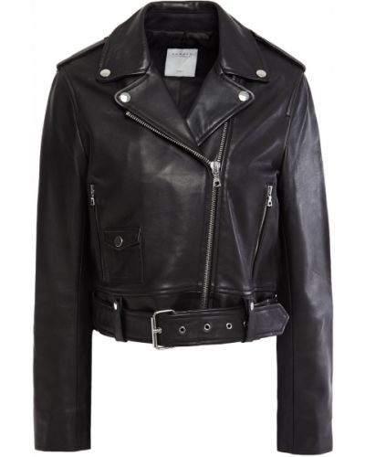 Кожаная куртка из овчины - черная Sandro