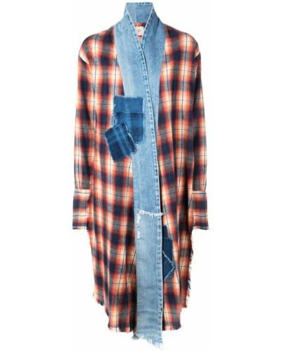 Синее длинное пальто с капюшоном Greg Lauren