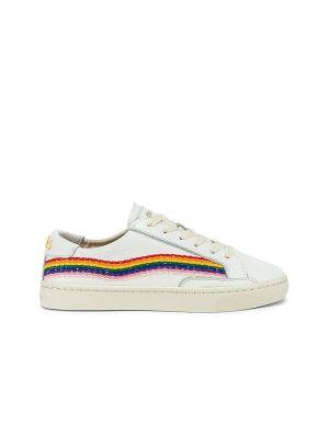 Кожаные белые кроссовки на шнурках Soludos