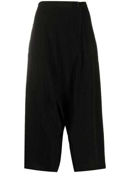 Черные укороченные брюки с запахом на пуговицах Y`s