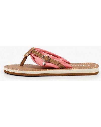 Розовые пляжные кожаные шлепанцы Tamaris