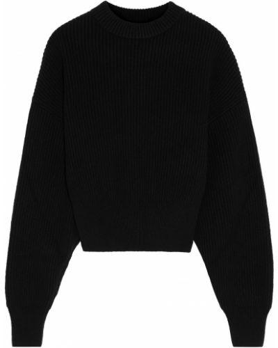 Prążkowany czarny sweter wełniany Cordova