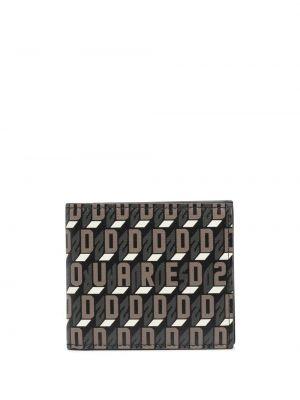 Czarny portfel bawełniany z printem Dsquared2