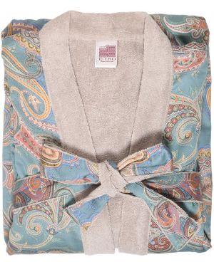 Niebieski szlafrok bawełniany z paskiem Etro