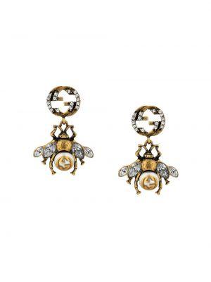 Złote kolczyki sztyfty perły pozłacane Gucci