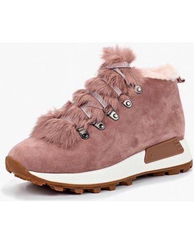 Ботинки на каблуке осенние розовый Grand Style