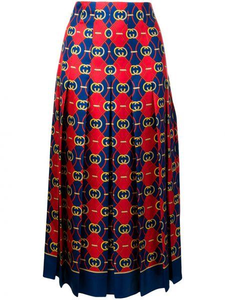 Плиссированная юбка миди с завышенной талией Gucci