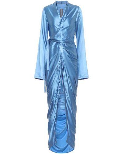 Satyna niebieski sukienka Rick Owens