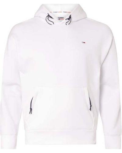 Z rękawami bawełna biały bluza z kapturem i zamkiem błyskawicznym z kapturem Tommy Jeans