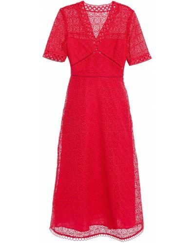 Кружевное платье миди - красное Claudie Pierlot
