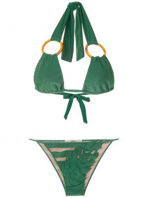 Зеленые бикини с вырезом со вставками с воротом халтер Adriana Degreas