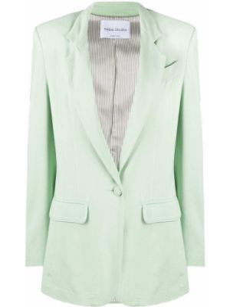 С рукавами зеленый классический пиджак с карманами Hebe Studio