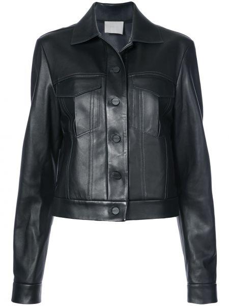 Черная кожаная куртка с воротником Dion Lee
