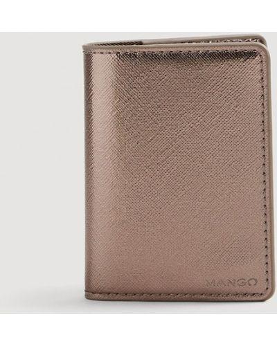 Кожаный кошелек серебряный Mango
