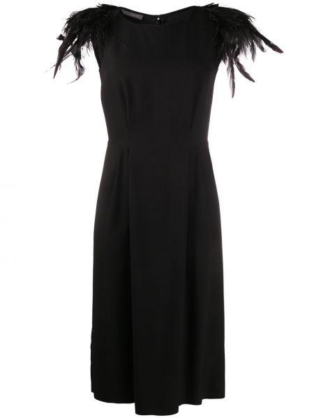 Шелковое черное платье миди с вырезом с короткими рукавами Alberta Ferretti