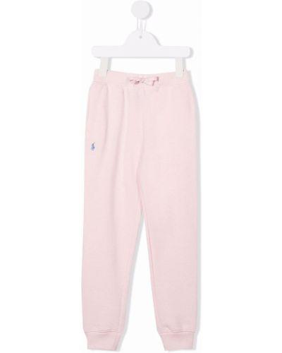 Joggery z haftem - różowe Ralph Lauren Kids