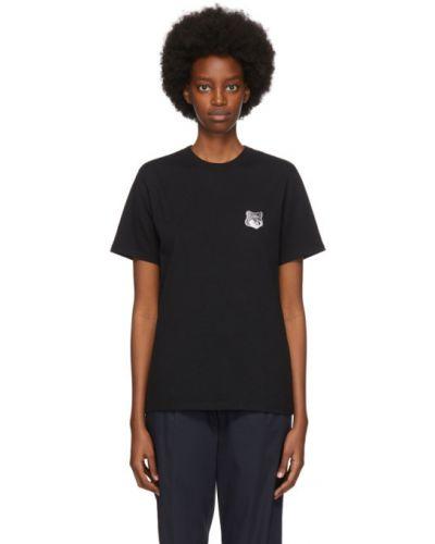 Черная рубашка с вышивкой с воротником с короткими рукавами Maison Kitsuné