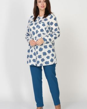Блузка с цветочным принтом белая Amarti