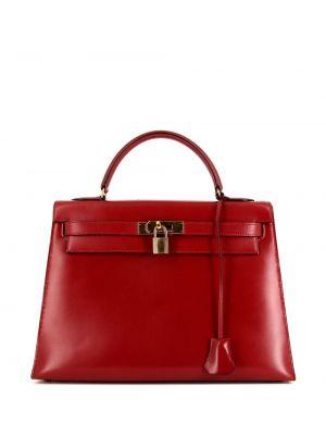Золотистая красная кожаная сумка-тоут Hermes