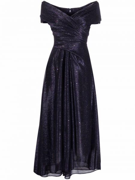 Платье мини с открытыми плечами - синее Talbot Runhof
