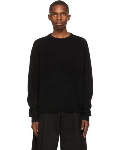 Czarny z kaszmiru długi sweter z długimi rękawami Frenckenberger