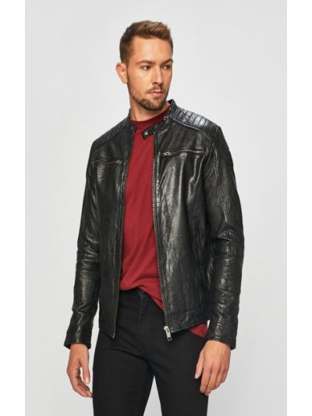 Кожаная куртка на молнии с карманами Jack & Jones