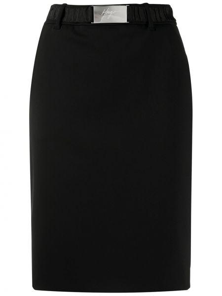 Черная с завышенной талией юбка миди с поясом Boss Hugo Boss