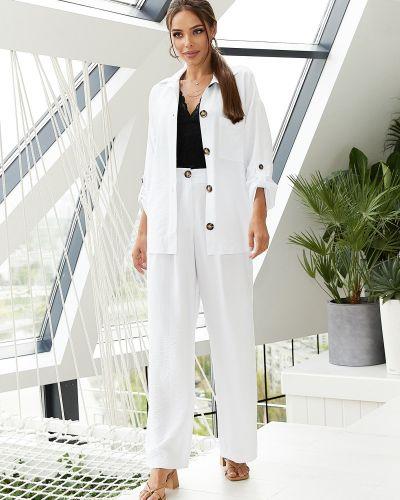 Белый льняной костюм с завышенной талией Dressa