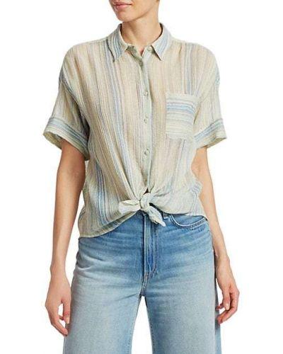 Koszula krótki rękaw bawełniana w paski Rag & Bone