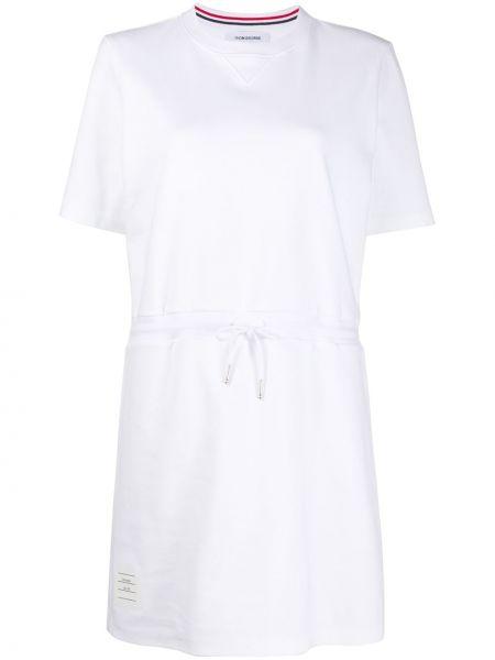Biała sukienka mini krótki rękaw bawełniana Thom Browne