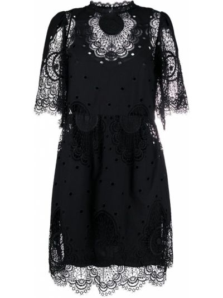 Кружевное черное платье мини с воротником из вискозы Temperley London