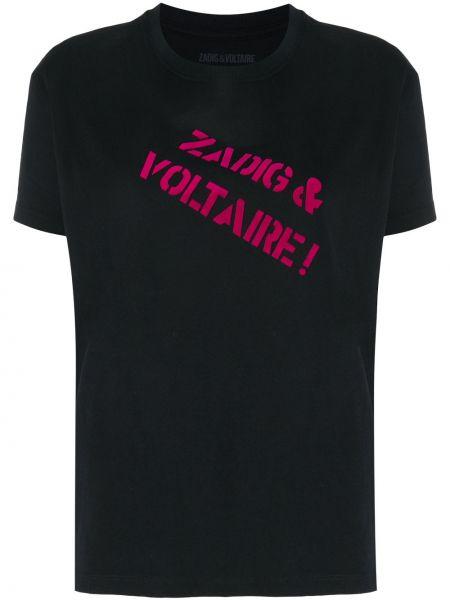 Хлопковая с рукавами черная футболка Zadig&voltaire