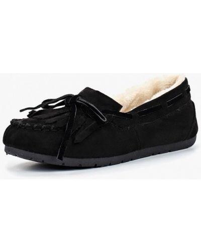 Черные мокасины замшевые Ideal Shoes