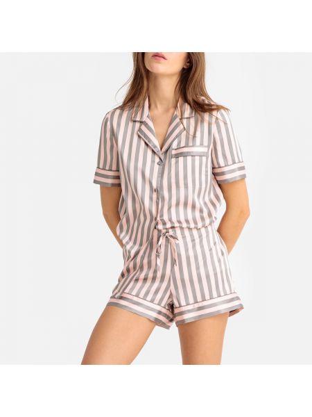 Пижама с шортами атласная с короткими рукавами La Redoute Collections