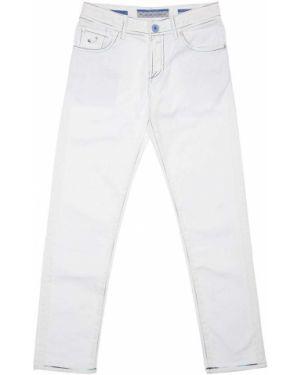Джинсовые белые зауженные джинсы на пуговицах Jacob Cohen