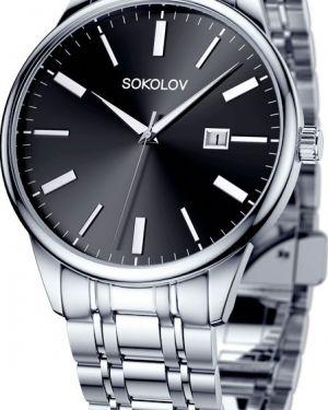 Часы водонепроницаемые серебряный черный Sokolov