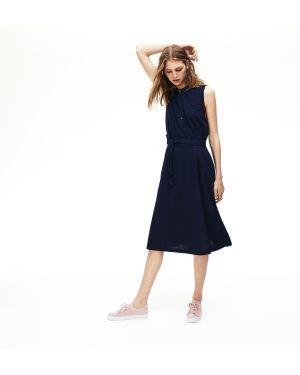 Платье с поясом на пуговицах с воротником Lacoste